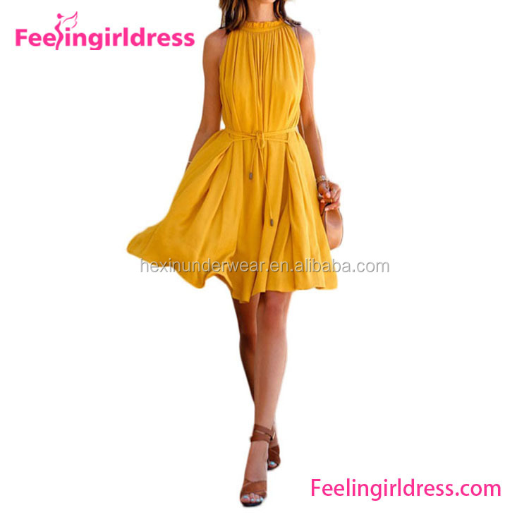 Halter Neck Young Girl Yellow Chiffon New Fashion Ladies Dress