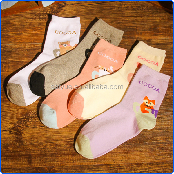 Ladies high quality hot selling cotton knitted animal socks