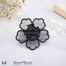 Black Decoration Fabirc Flower Lace Applique Embroidery DIY