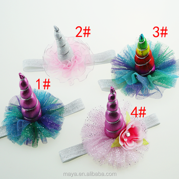 Maya Hot-sales Princess rainbow color unicorn headband hair accessories