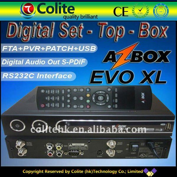 Digital Satellite Receiver DVB Az box Evo XL, az box evo xl satellite tv receiver for south america chile
