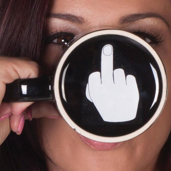 China Factory selling Personalized Ceramic Mug Coffee Cup With Have a Nice Day Middle Finger Pattern