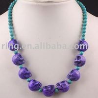 purple Turquoise Teardrop Beads Pendant Necklace