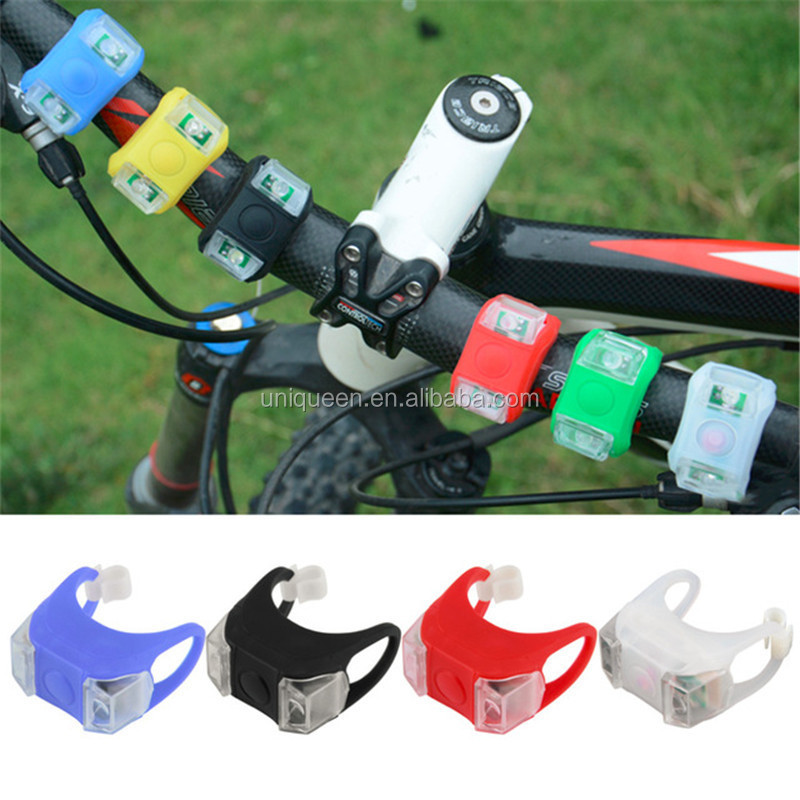 2017 Popular Silicone Rear Bike Light Battery Powered Lamp HeadLight Headlamp Water-resistant Cycle Led Flashing Bicycle Light