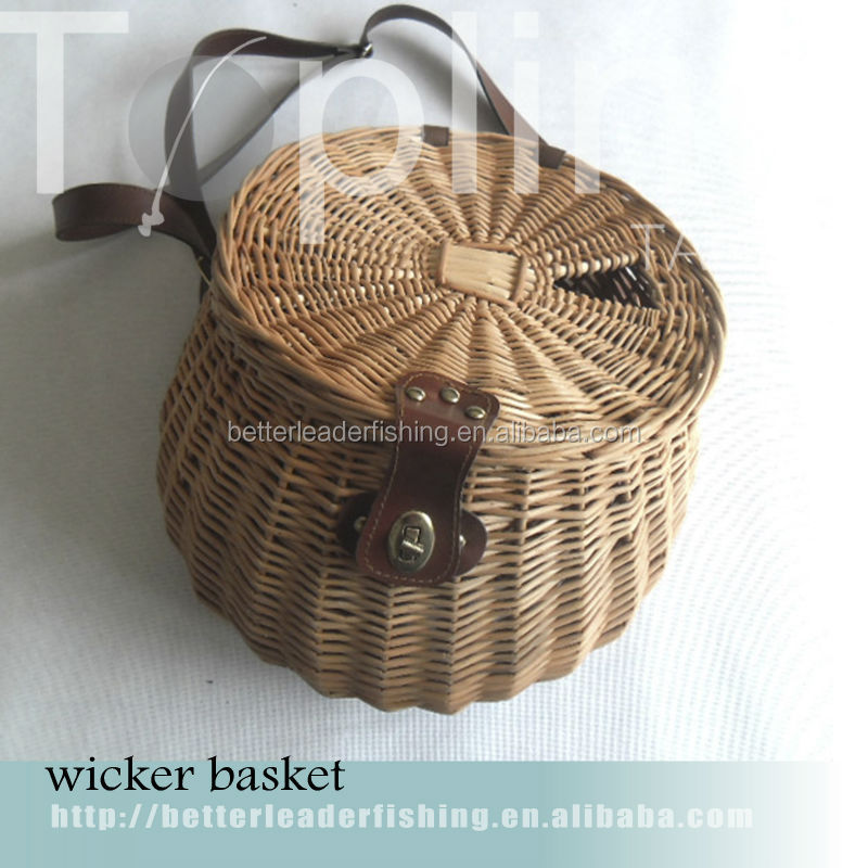cheap wholesale woven willow fishing basket made in China
