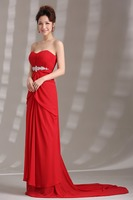 RR3882 gorgeous backless layered pleated crystal beaded strapless Zip closed A-line sweep train evening dress