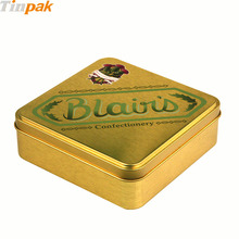 Square luxury tin packaging boxes with tray for chocolate