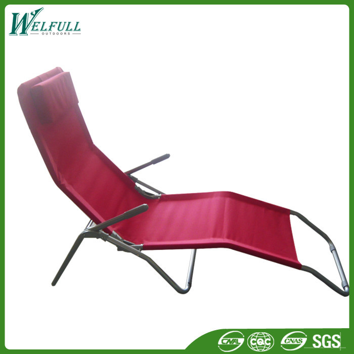 Red Aluminum Folding Cheap Modern Lounge Chair With Pillow