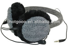 Prime wired winter knitted earmuff headphones with mic