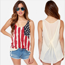 summer fashion women pleated Chiffon patriotic Stars & Stripes USA July 4 Casual 100 polyester american flag tank top