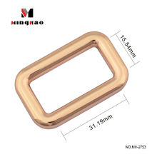OEM/ODM round edge square ring gold side release buckles metal strap bag clip buckle for bags