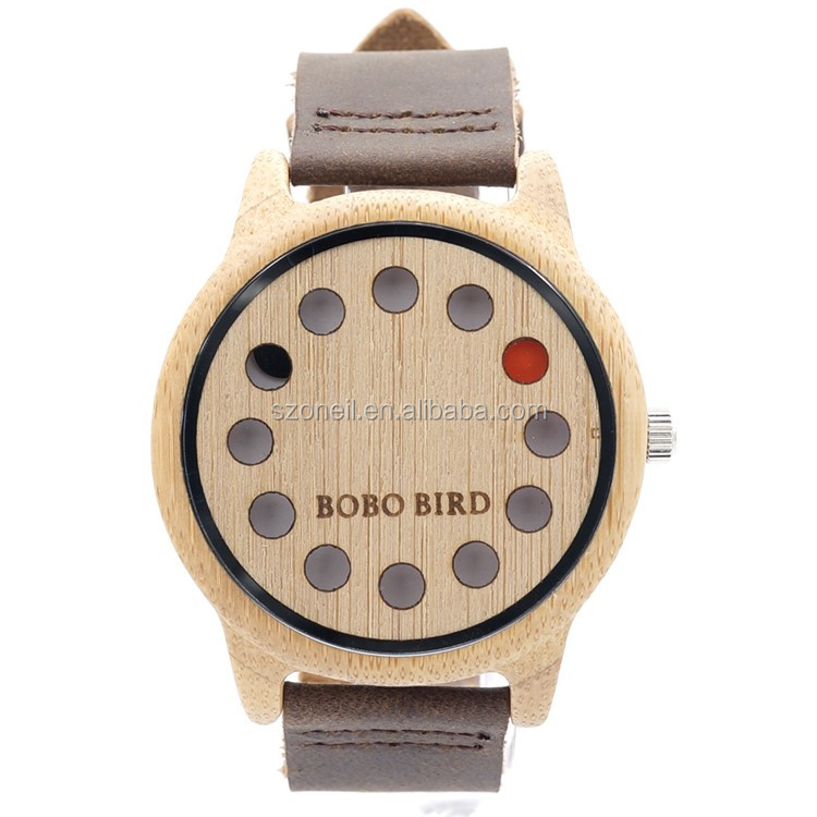 Fashion Bamboo Wood Watch Men's Wooden Wrist Watch With Leather Band Japan Quartz Movement Wood Watch