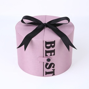 Custom logo high quality design art pink drawer storage paper gift box with black ribbon
