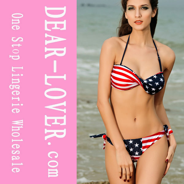 Twist Bandeau Stripes and Stars Bikini Swimwear open sexy girl full photo