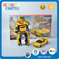 ABS plastic model yellow car robot toy building blocks for kid