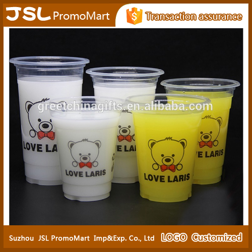 Promotional Custom Imprint Logo Disposable Transparent Plastic Cup PP Drinking Cup