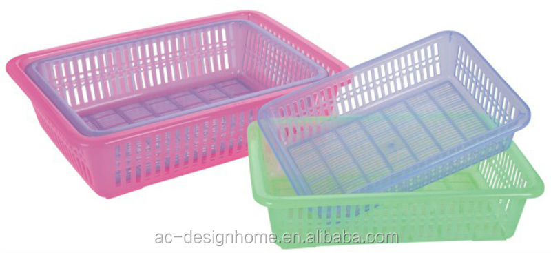 FUCHSIA, TURQUOISE, LIME GREEN, ORANGE RECTANGULAR PP PLASTIC SIEVE BASKET