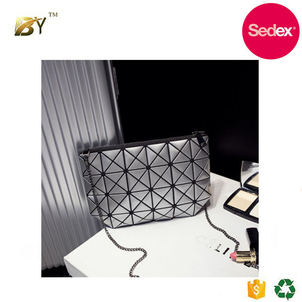 Sedex audit factory Hot sale fashion Lady bags Geometry block Cosmetic Bag small bag