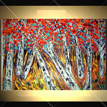 red tree white branches beautiful forest landscape 100% pure hand-painted 100% handmade decoration oil painting in canvas