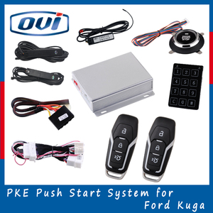 Manual car alarm system push start engine universal remote control auto security passive keyless entry car alarm for ford ku-ga