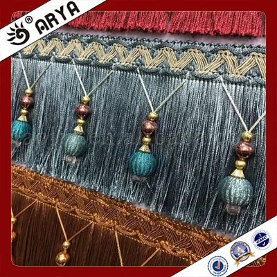 Curtain Tassel Fringe with Beads Chainette Trimmings