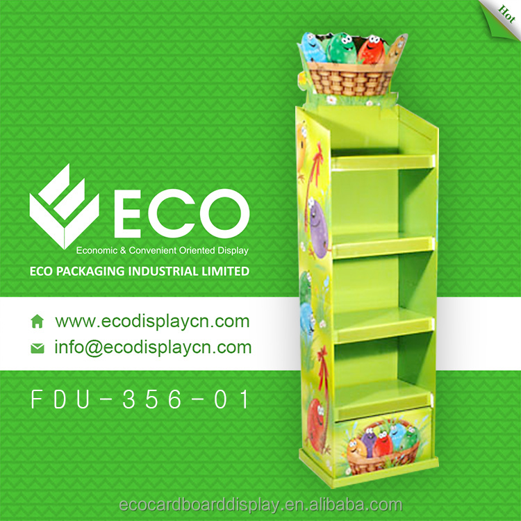 Green color cardboard fruit rack tire display for shopping mall