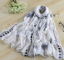 wholesale scarves chinese factory fashion women embroidery flowers and embroidered heart and paisley designs scarf