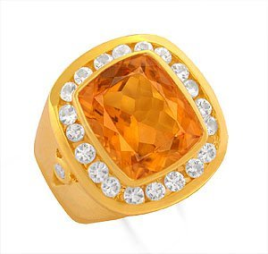 Cushion cut deep intense golden color citrine ring