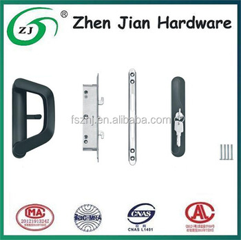 Aluminium handle set for sliding door lock