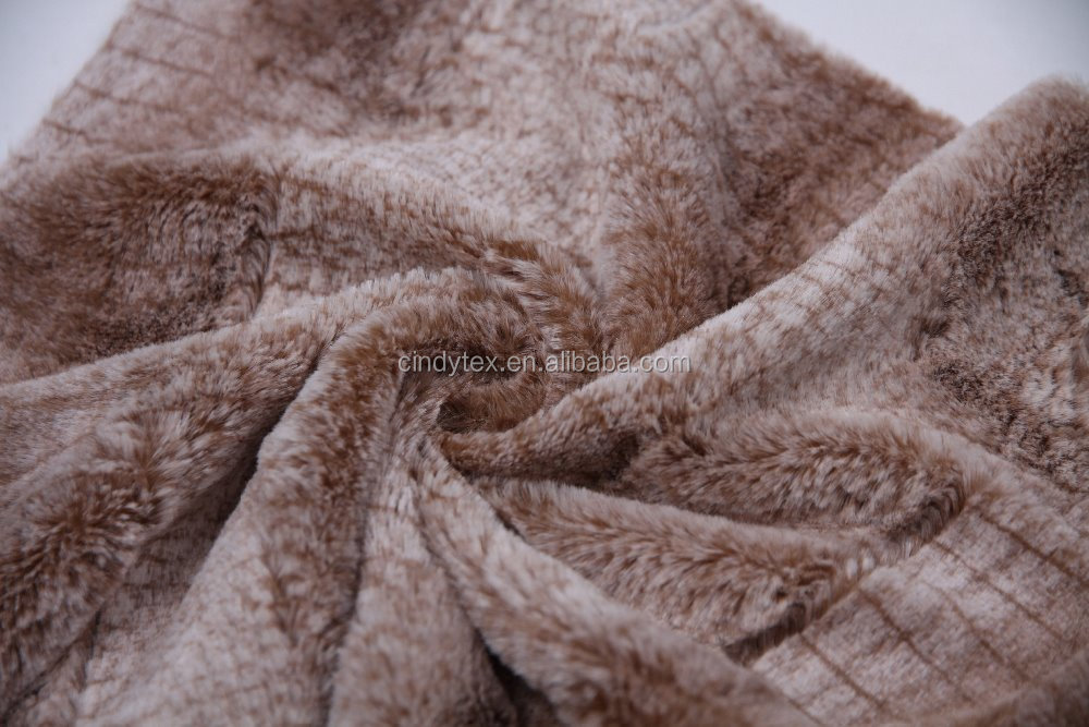 soft brown 100% polyester print faux fur