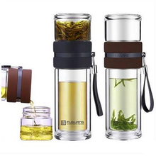 Double Wall Borosilicate Glass Tea Cup with Strainer
