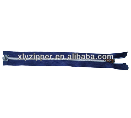 Garments accessories plating sliver teeth nylon zipper with plastic top and bottom stop
