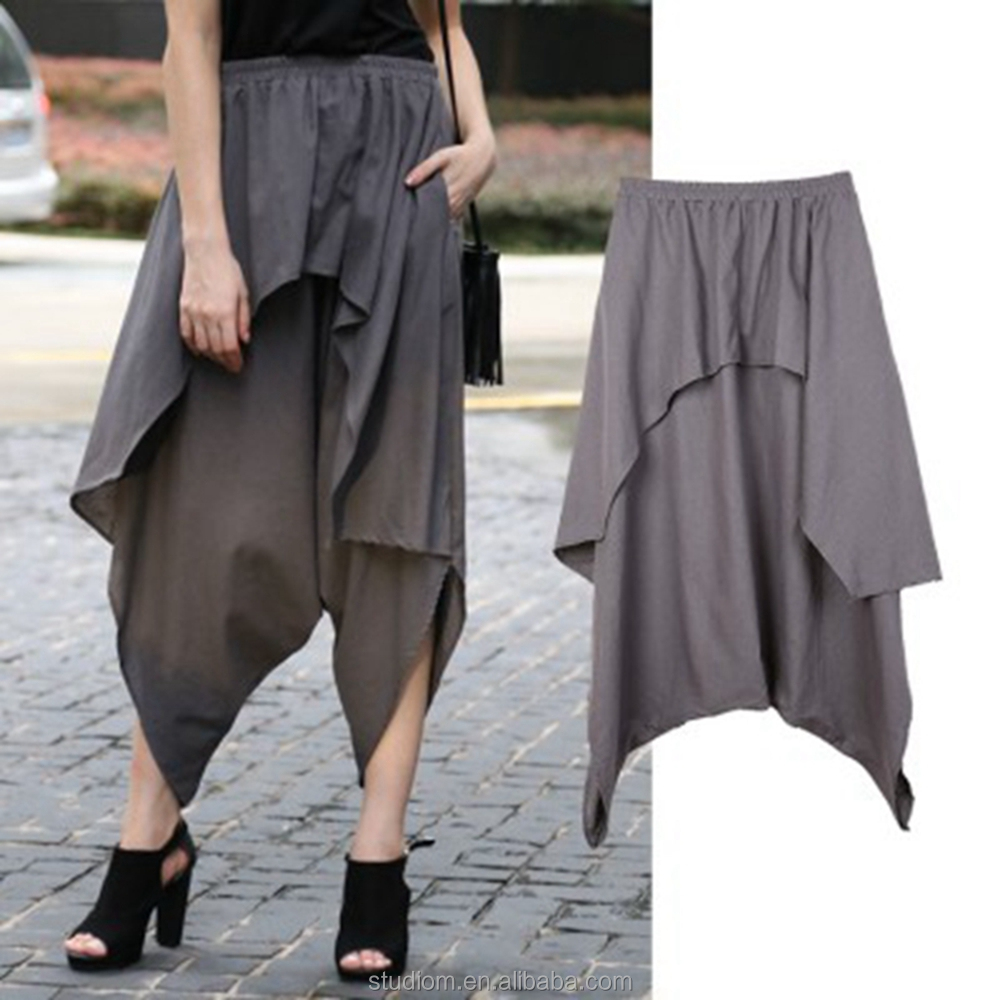 wholesale 2017 hot sale Layered Look Linen Harem Trousers