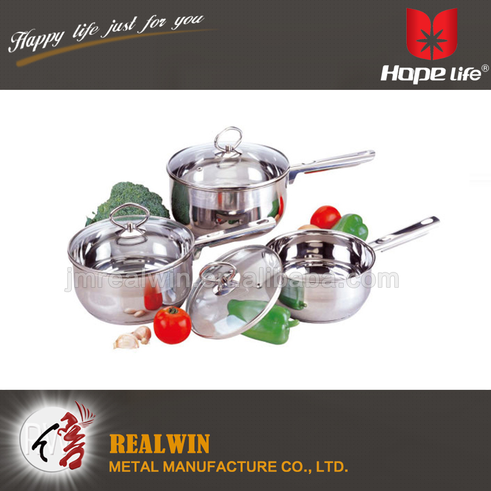 Folded edge stainless steel 0.5mm cookware capsule bottom cookwares with 16/18/20cm