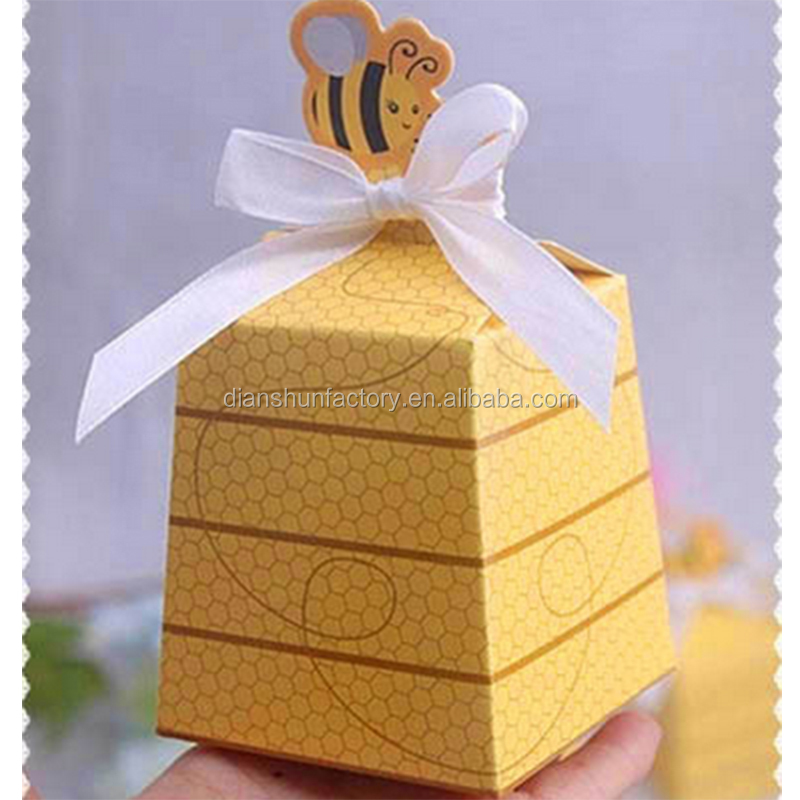 European Yellow Bee Style Favors Candy Boxes Gift Box with White Ribbons Baby Shower Birthday Party Wedding Supplies