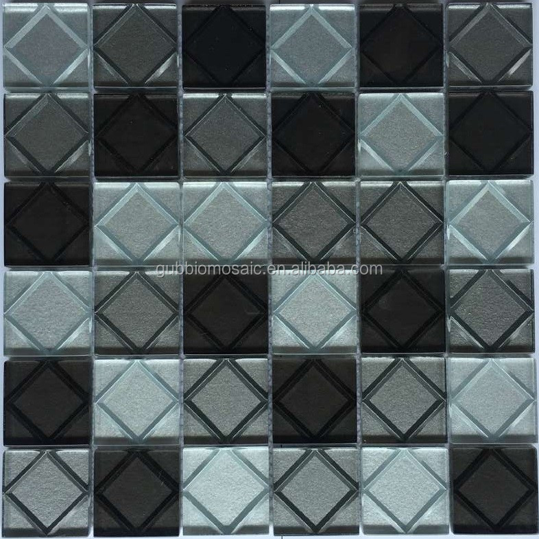 3D effect carving geometrical pattern glass mosaic tile GB411 plating glass mosaic