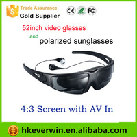 cheap 52 inch virtual video glasses with AV output can connect Mobile phone / mp5 /tv dvd ect