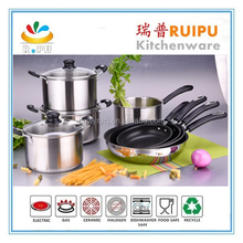 New style designed camping cook 12pcs stainless steel cookware royal kitchen set