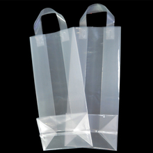 Hot sale wine packaging plastic clear shopping bags with handles