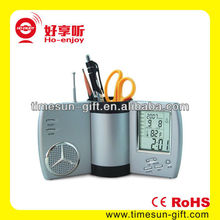 Wholesaler cheap clock spring pen holder with FM radio