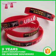 2016 debossed colorfilled glow in the dark rubber band