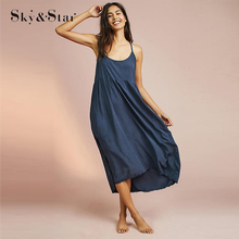 casual loose blue pleated spaghetti strap plain slip dress for woman