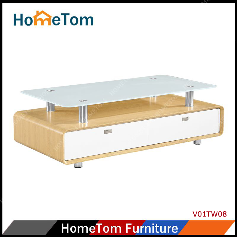 V01TW08 High Quality Glass Tier Wooden Tea Table
