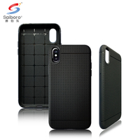 Mesh pattern Hybrid color soft TPU anti-fingerprint cell phone case for iphone x