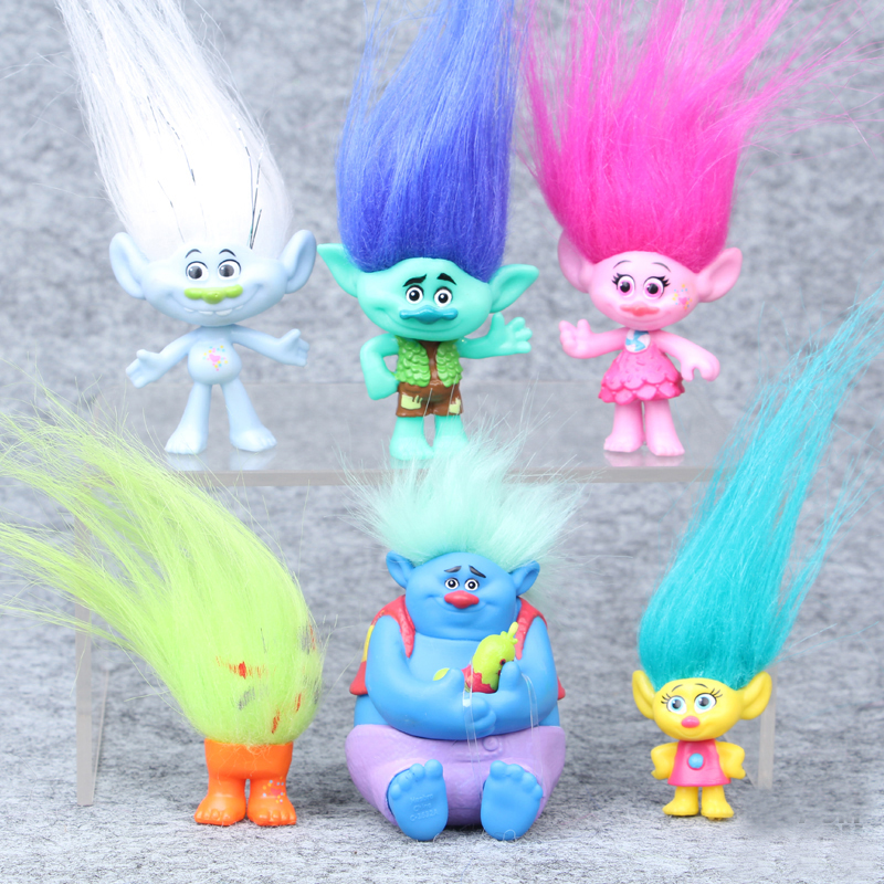 2016 Trolls Movie 6Pcs Collectible Dolls Poppy Branch Biggie PVC Trolls Action Figures Doll Toy Trolls