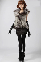 Wholesale Pretty Animal Knitted Vest Rabbit And Raccoon Fur Vests
