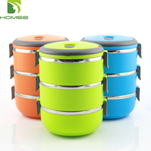 3 layers stackable stainless steel hot bento lunch box with handle