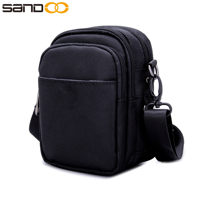Free sample quality new design mobile phone pouch for men, black mobile phone carry bag