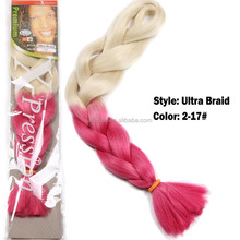 New style synthetic braided hair two tone color hair extension white ombre red braid hair