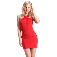 2016 Summer Dress Sleeveless Ladies Casual Dress Red Halter Collar Latest Dress Designs